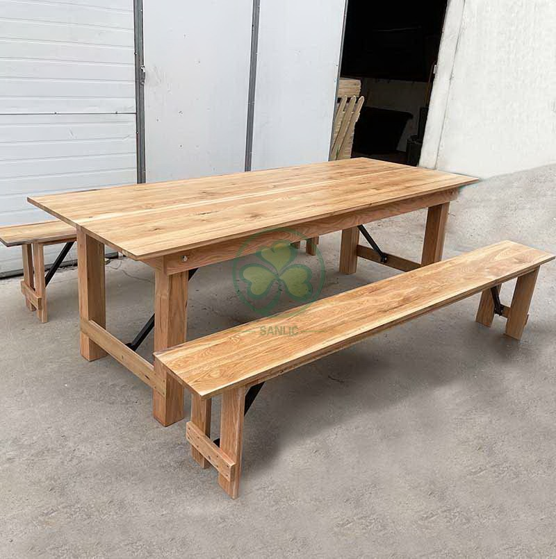 Wood Farmhouse Table for Events and Weddings  004