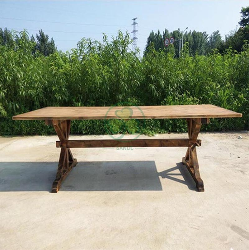 Wood Farmhouse Table for Events and Weddings  005